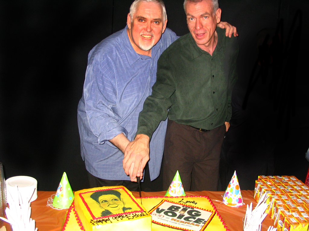 Jim Brochu & Steve Schalchlin cut the birthday cake
